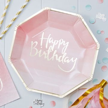 Party Plates with 'Happy Birthday' on the front in gold - pack of 8